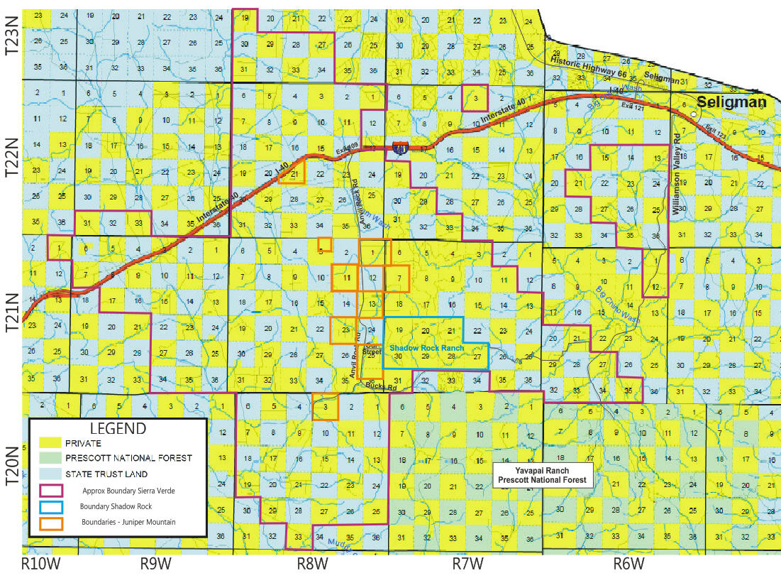 Map showing Seligman Developments and Government Land